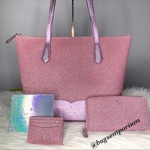 Kate Spade LG Glitter tote / wallet 3 piece set